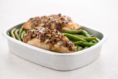 Home Chef Oven Kit Pecan-Crusted Chicken with BBQ Green Beans Perspective: top