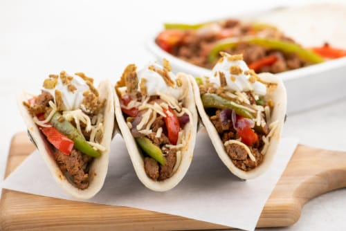 Home Chef Oven Kit Turkey Tinga Tacos with Sour Cream and Crispy Jalapenos Perspective: top