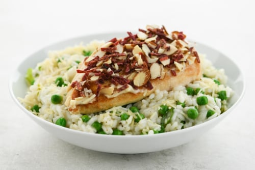 Home Chef Meal Kit Crunchy Beet And Almond Crusted Chicken  With Garlic Herb And Pea Risotto Perspective: top