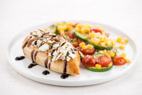 Home Chef Meal Kit Balsamic Fig Chicken With Zucchini And Grape Tomatoes Perspective: top