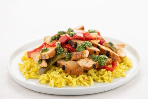Home Chef Heat and Eat Fajita Chicken With Yellow Rice Perspective: top