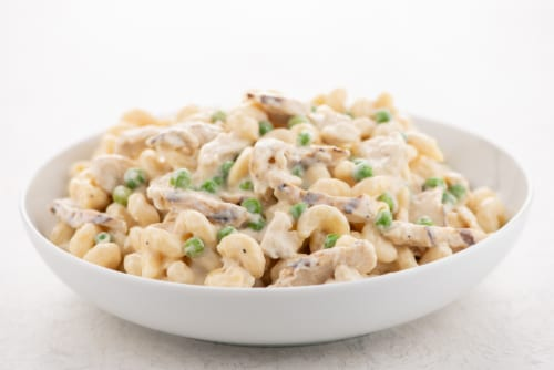 Home Chef Heat and Eat Chicken Alfredo With Cavatappi Pasta And Peas Perspective: top