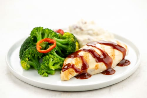 Home Chef Heat and Eat Grilled Chicken With BBQ Sauce and Mashed Potatoes Perspective: top