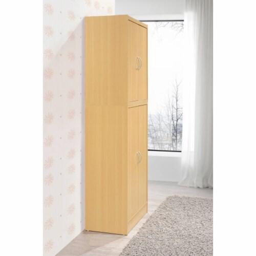 Hodedah 4-Door Kitchen Pantry with 4-Shelves, 5-Compartments in Beech Perspective: top