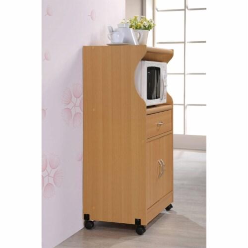 Microwave Kitchen Cart in Beech Brown - Hodedah Perspective: top