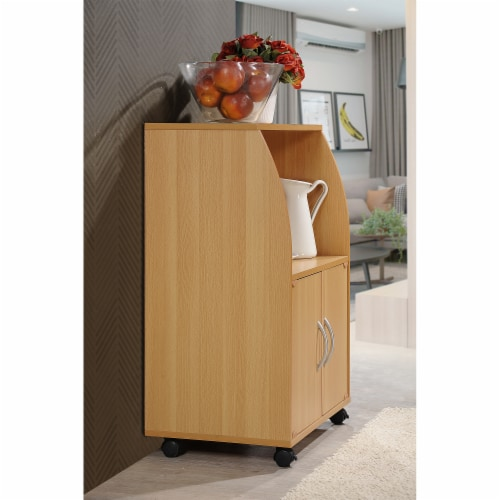 Hodedah Kitchen Cart in Beech Perspective: top