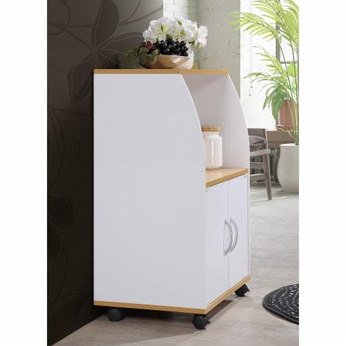 Hodedah Kitchen Cart in White Perspective: top