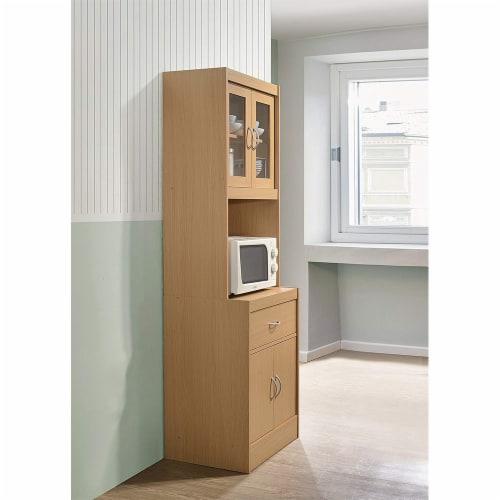 Hodedah Freestanding Kitchen Storage Cabinet w/ Open Space for Microwave, Beech Perspective: top