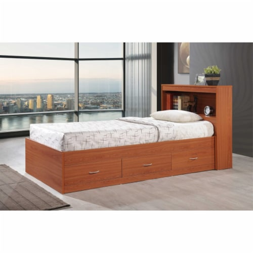 Twin Size Captain Bed with 3 Drawers and Headboard in Cherry - Hodedah Perspective: top