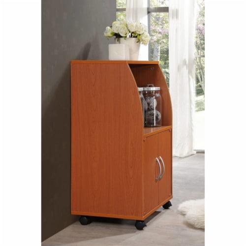 Microwave Kitchen Cart in Cherry - Hodedah Perspective: top