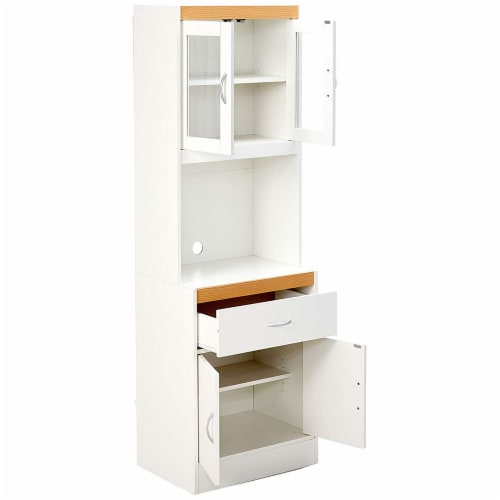 Hodedah Freestanding Kitchen Storage Cabinet w/ Open Space for Microwave, White Perspective: top