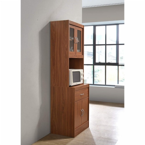 """Hodedah Import 70"""" Tall Top/Bottom Enclosed Kitchen Cabinet with Drawer, Cherry Perspective: top"""