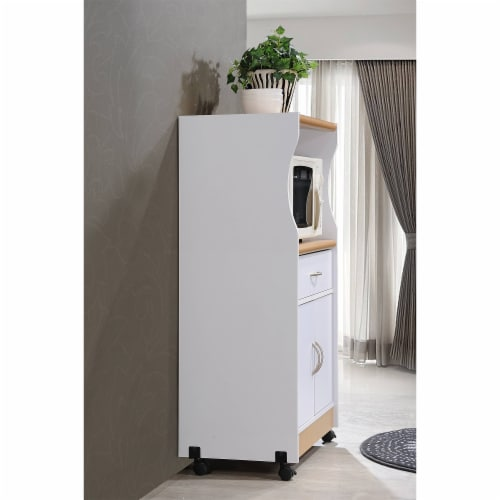 Microwave Kitchen Cart in White - Hodedah Perspective: top