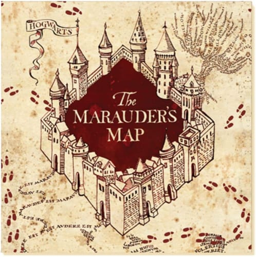 Harry Potter Marauders Map 60 Piece Party Tableware Set | Cups | Plates | Napkins Perspective: top