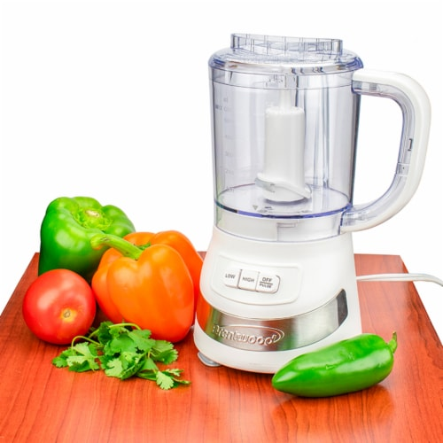 Brentwood FP-549W 3 Cup Kitchen Countertop Food Blender Chopper Processor, White Perspective: top