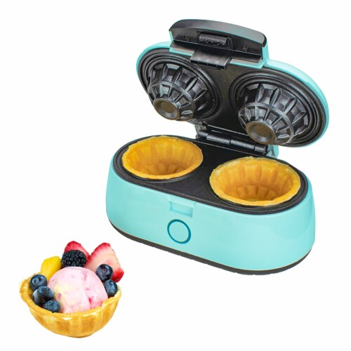 Brentwood TS-1402BL Kitchen Counter Dessert Double Bowl Mini Waffle Maker, Blue Perspective: top