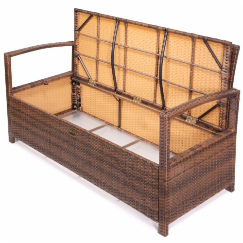 Outdoor All-Weather Deck Box Storage Bench Patio with Seat Cushion Perspective: top