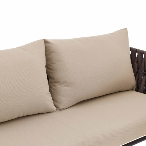 4PCS Outdoor Patio Conversation Sofas Set, Beige/Brown Perspective: top
