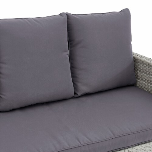 6-Pieces Outdoor Patio Dining Set Wicker Table Cushion Seat, Grey Perspective: top