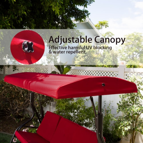 Outdoor 3-Seater Patio Porch Swing Chair with Adjustable Canopy Perspective: top