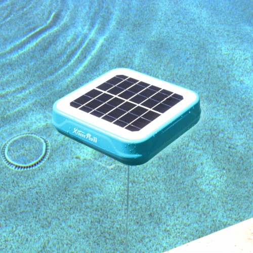 Solar Powered Pool Ionizer Kills Algae Using Less Chlorine Above or In Ground Perspective: top