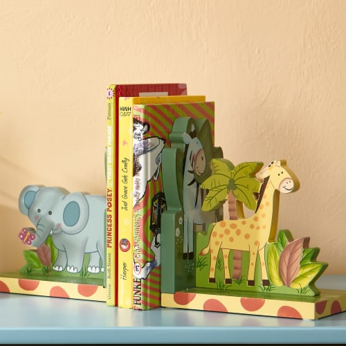 Kids Sunny Safari Bookends by Fantasy Fields Wooden Animal Nursery Décor W-9837A Perspective: top
