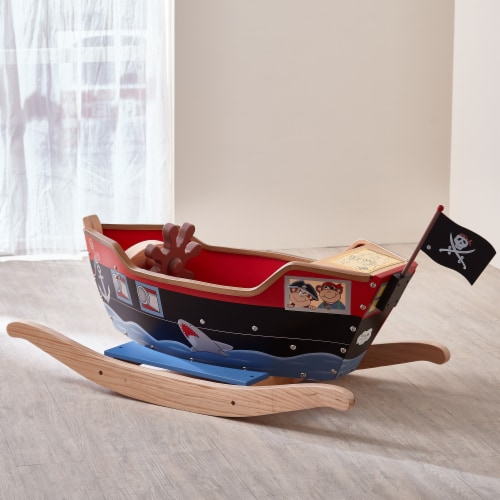 Teamson Kids Large Wooden Childrens Rocking Pirate Ship Toy Rocker TD-0066A Perspective: top