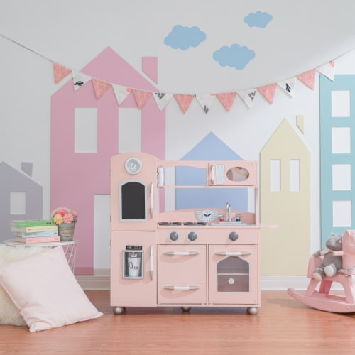 Pink Wooden Toy Kitchen with Fridge Freezer and Oven by Teamson Kids TD-11414P Perspective: top
