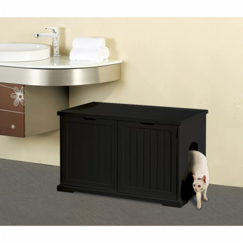 Merry Products Decorative Bench with Enclosed Cat Litter Washroom Box, Black Perspective: top