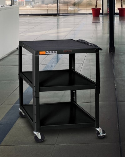 Luxor - Adjustable Height Steel A/V Cart - Three Shelves Perspective: top