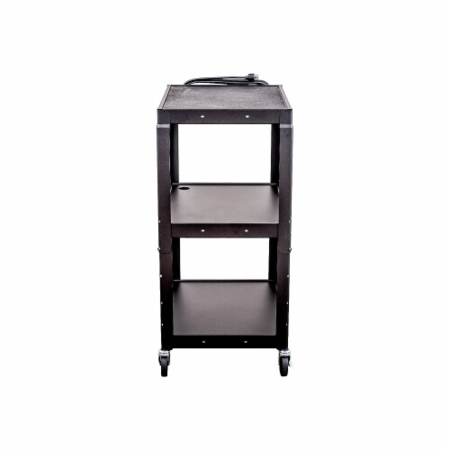 Luxor - Adjustable Height Steel A/V Cart - Three Shelves, Black Perspective: top