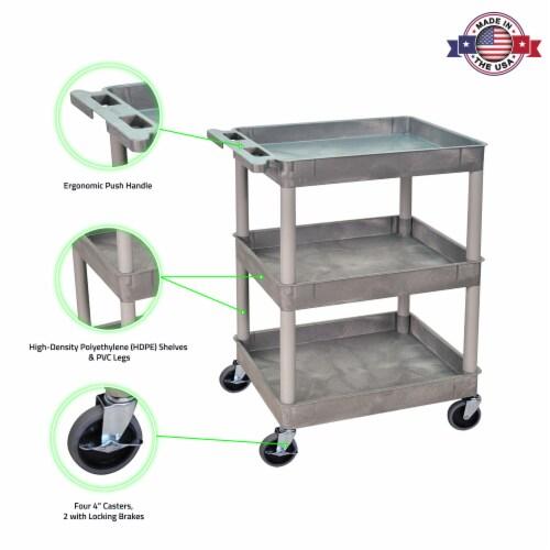 Sim Supply Utility Cart,300 lb. Cap.,PE,3 Shelves HAWA STC111-G Perspective: top