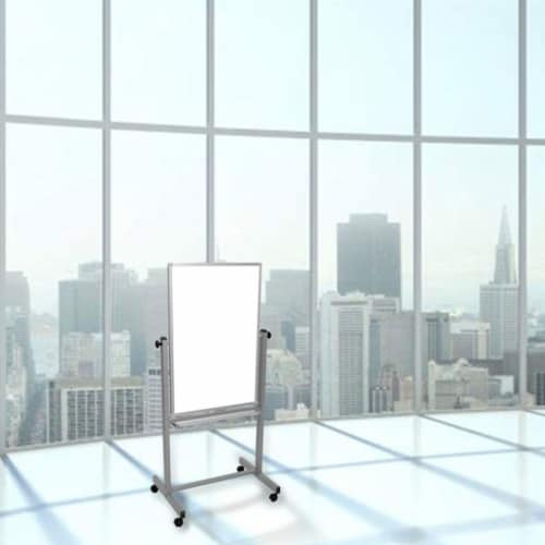 Luxor Dry Erase Double-Sided Magnetic Whiteboard with Aluminum Frame and Stand - 24 W X 36 H Perspective: top