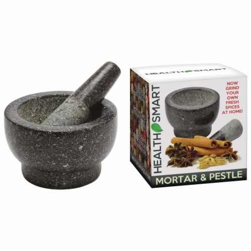 Health Smart Granite Mortar and Pestle Excellent for Grinding Fresh Spices and Herbs Perspective: top