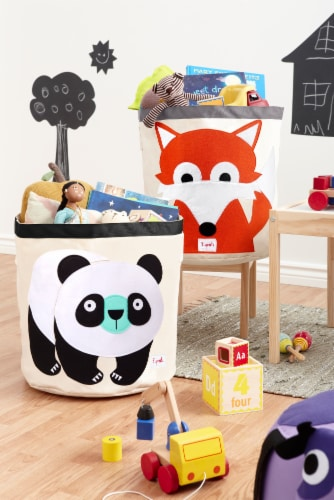 3 Sprouts Canvas Storage Bin - Laundry and Toy Basket for Baby and Kids, Panda Perspective: top