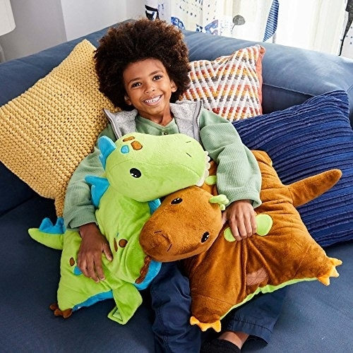 Pillow Pets Dinosaur Plush Toy - Green Perspective: top