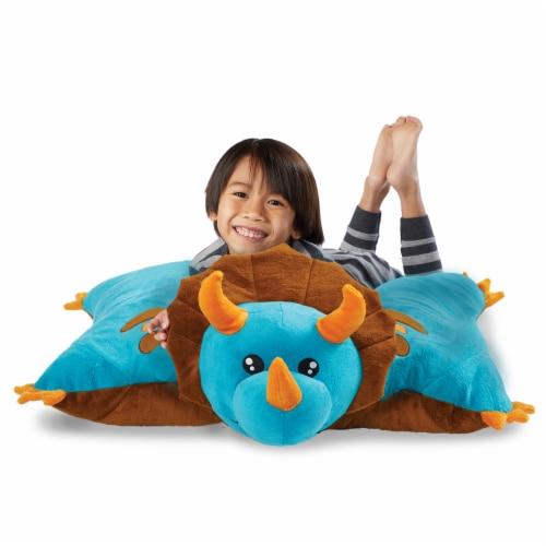 Pillow Pets Jumboz Dinosaur Oversized Plush Toy - Blue Perspective: top