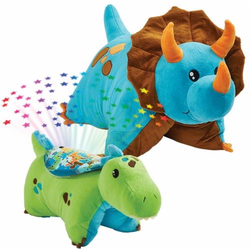 Pillow Pets Dinosaur Plush Slumber Pack - Blue & Green Perspective: top