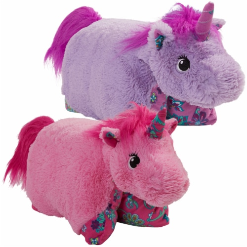 Pillow Pets Colorful Unicorn Plush Toy Combo Pack - Pink & Lavender Perspective: top