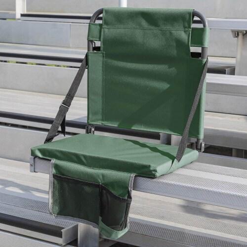 Eastpoint Sports Adjustable Bleacher Backrest Stadium Seat w/ Cup Holder, Green Perspective: top