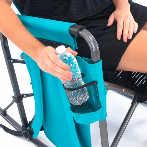 Creative Outdoor Rocking Folding Director Chair - Gray/Teal Perspective: top
