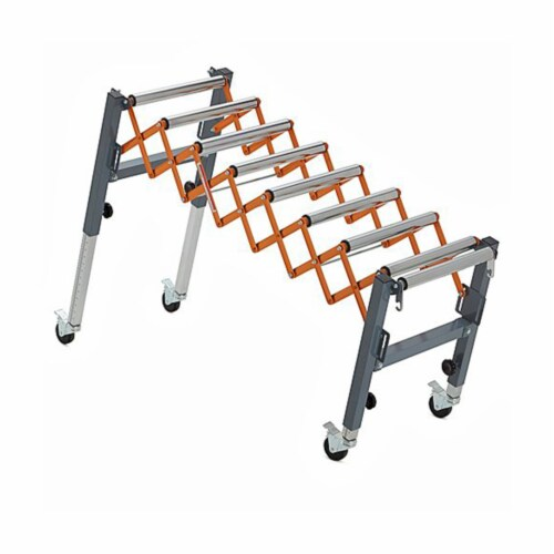 Bora Tool Conveyor Roller with Locking Casters and Adjustable Height and Length Perspective: top