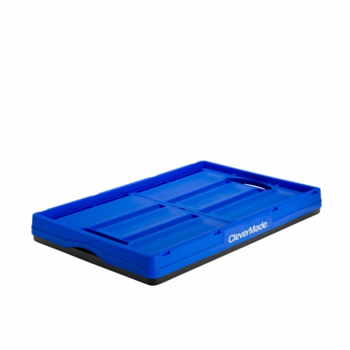 CleverMade Durable Stackable 62L Collapsible Storage Bins, Royal Blue (3-Pack) Perspective: top