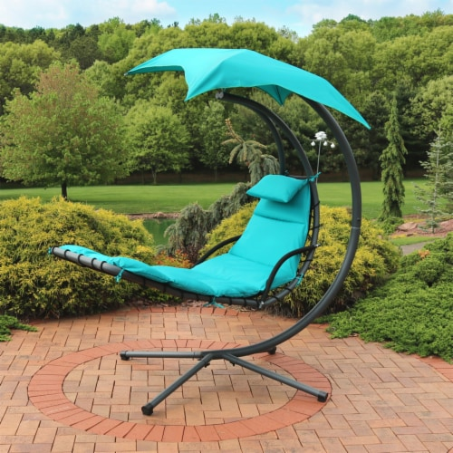 """Sunnydaze Teal Hanging Floating Chaise Lounger Swing Chair with Umbrella - 80"""" Perspective: top"""