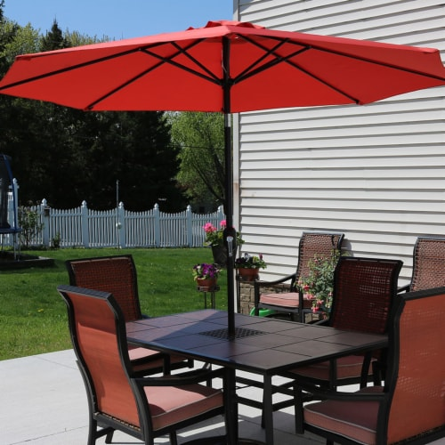 Sunnydaze Aluminum Patio Market Umbrella with Tilt and Crank - 9' - Burnt Orange Perspective: top