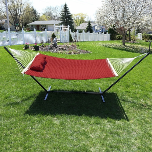 Sunnydaze 2-Person Quilted Fabric Spreader Bar Hammock with 12' Stand - Red Perspective: top