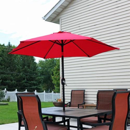 Sunnydaze Outdoor Patio Market Umbrella w/ Tilt & Crank - Aluminum - 7.5' - Red Perspective: top