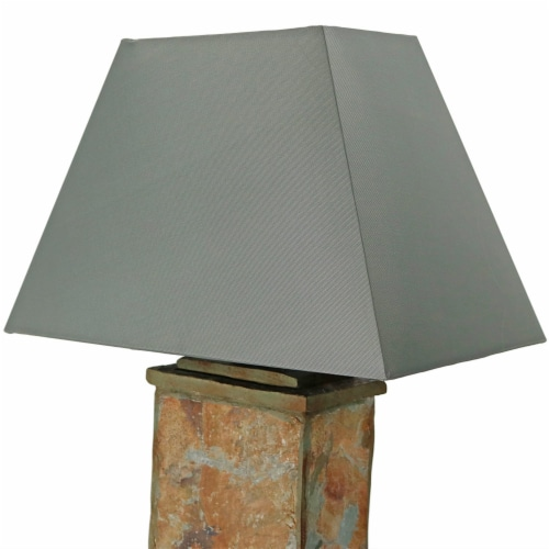 """Sunnydaze Indoor-Outdoor Decorative Natural Slate Table Lamp -Electric - 24"""" Perspective: top"""