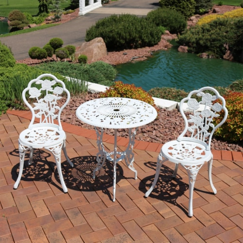 Sunnydaze 3-Piece White Flower Designed Cast Aluminum Patio Furniture Bistro Set Perspective: top