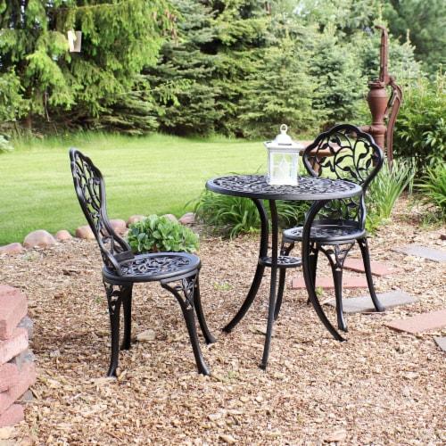 Sunnydaze 3-Piece Outdoor Cast Aluminum Patio Garden Furniture Bistro Set -Black Perspective: top